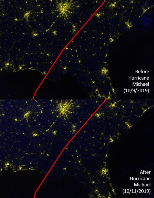 These before-and-after images show Hurricane Michael's impact on nighttime lights in the Gulf Coast of Florida between October 9th and 11th, 2019.