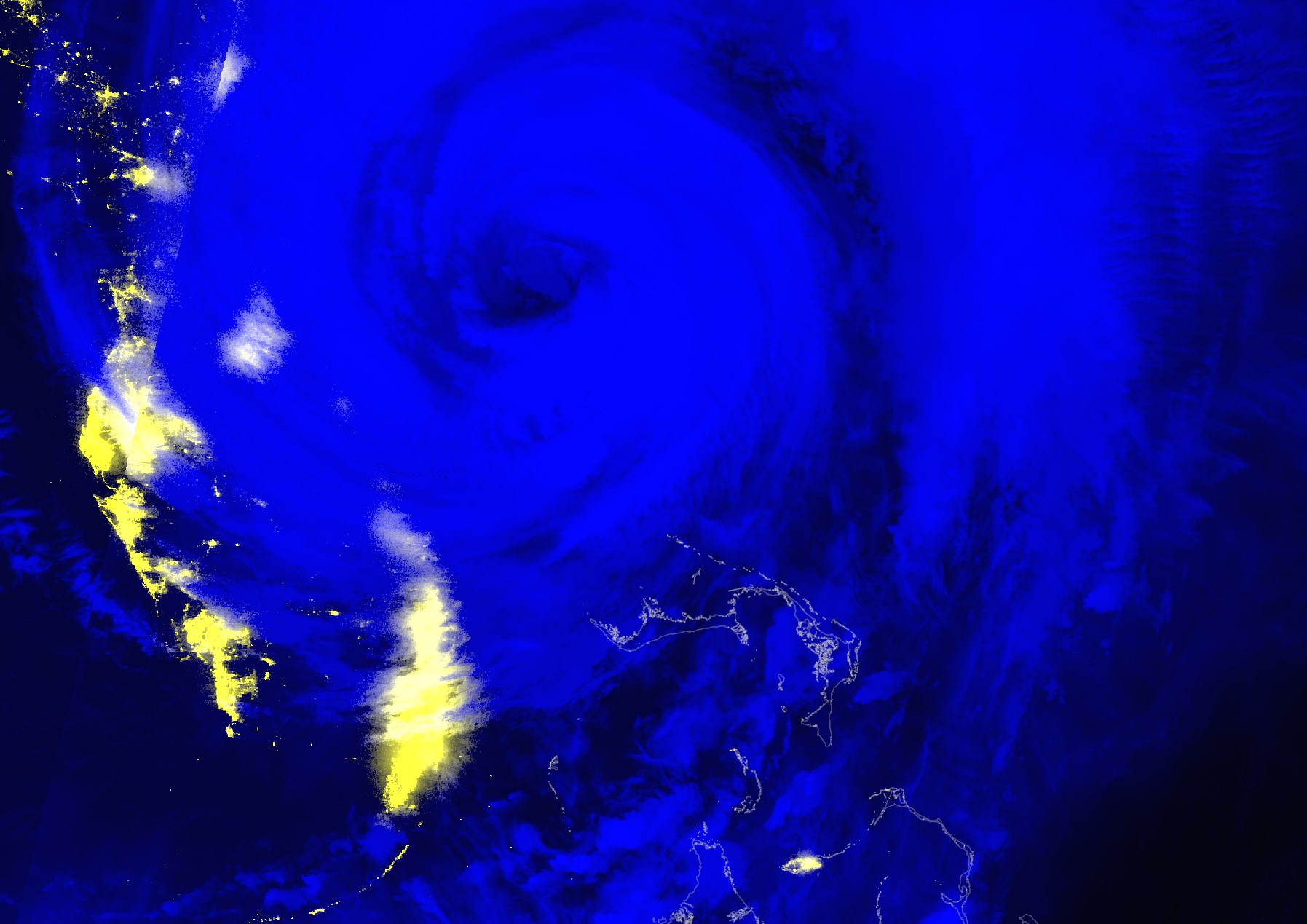 This Black Marble Nighttime Blue/Yellow Composite image shows Hurricane Dorian just after it moved away from the Bahamas on September 4, 2019.