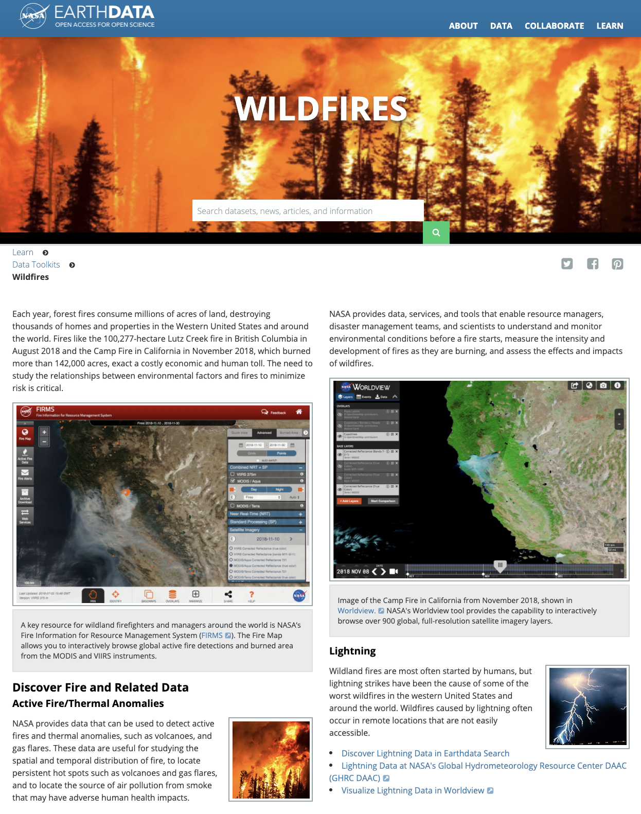 Screenshot of Wildfires Toolkit home page