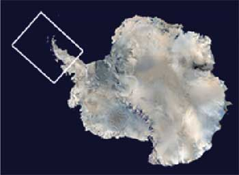 Map showing Antarctica and the Antarctic Peninsula