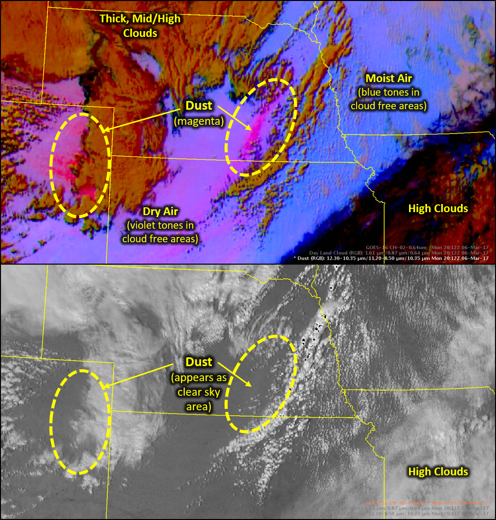 Comparison of images showing the deep magenta and purple colors given to dust in RGB imagery versus the difficulty of seeing dust in visible imagery.