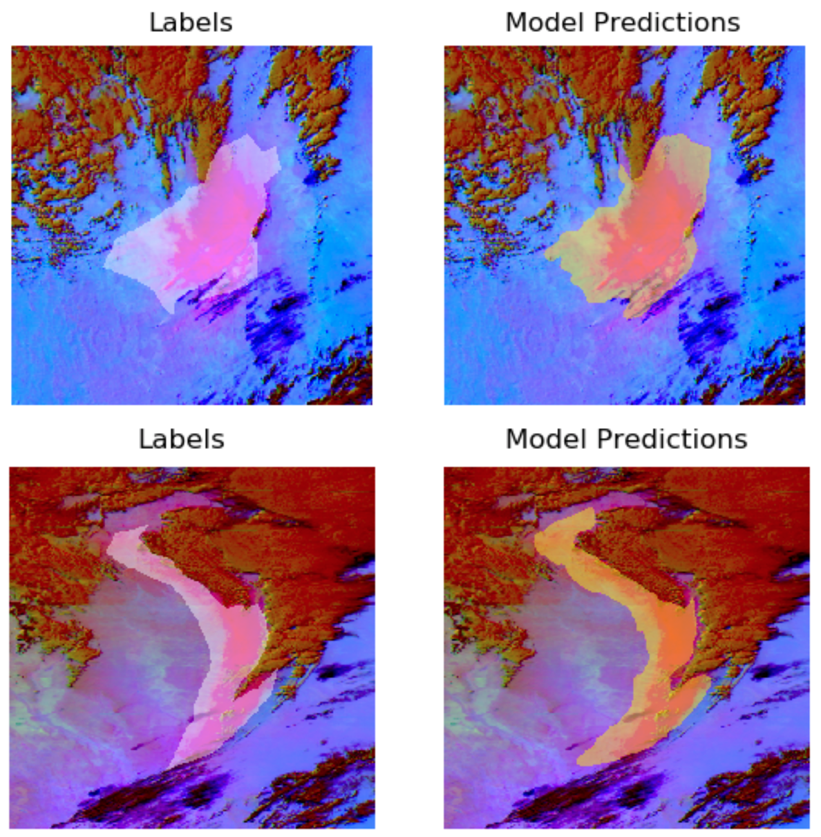 four images showing the accuracy of model predictions to human-labeled areas of dust.