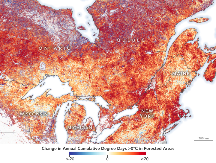 Dr. Serge Olivier Kotchi used MODIS land surface temperature data to map changes in degree days above 0°C of forested areas in central and eastern Canada. Much of the study area warmed by 15 to 35 degree-days per year.