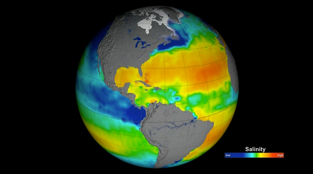 This data visualization shows the first full year of validated ocean surface salinity from NASA's Aquarius instrument, averaged from December 2011 through December 2012