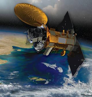 This image offers an artist's rendering of the Aquarius/SAC-D satellite in orbit.