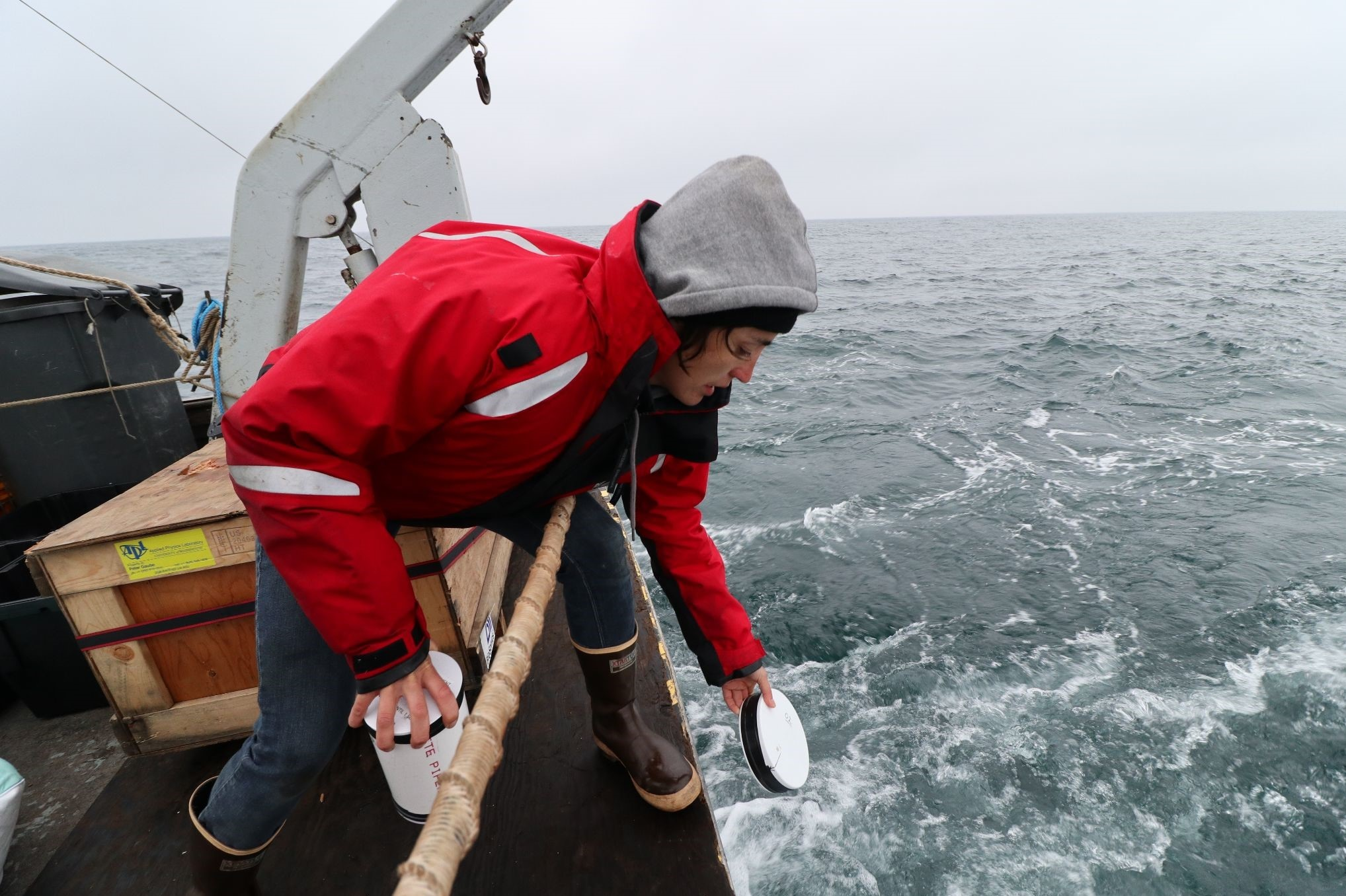Dr. Kyla Drushka deploys ocean drifters to measure ocean currents at the sea surface.