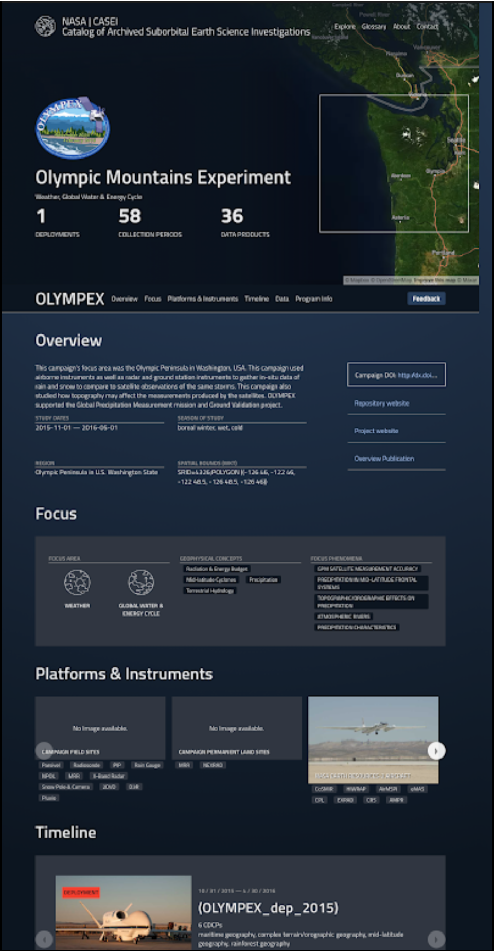 Screenshot of CASEI campaign page showing sections with specific information about the campaign.