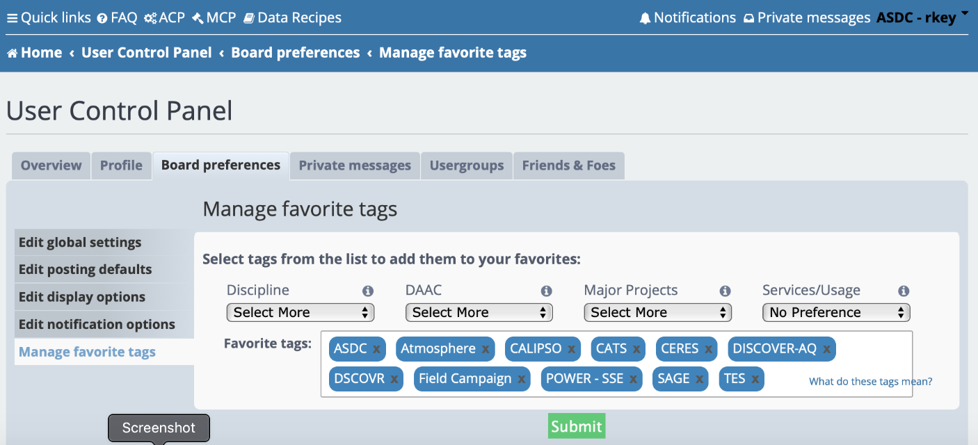 Earthdata Forum Favorite Tags Feature- Cover Image