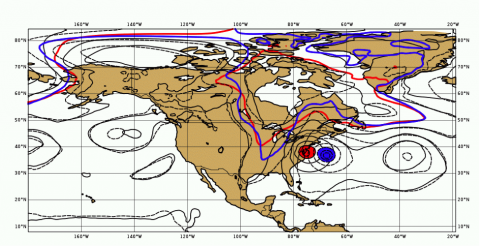 Fig. 2 Forecasts of surface level pressure on 00UTC October 30 from NOPOLAR experiment (blue and black dash) and the control system (red and black solid)