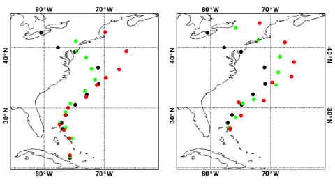 Fig. 3 5-day (left) and 4-day (right) forecasted tracks of Sandy from NOPOLAR (red), NOPOLAR-EAD (green), and control system (black)