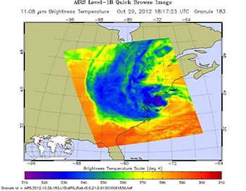 Fig. 4 Image of granule 183 of AIRS level 1B data on Oct. 29, 2012 over Eastern US