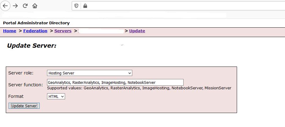Portal Update Server Role