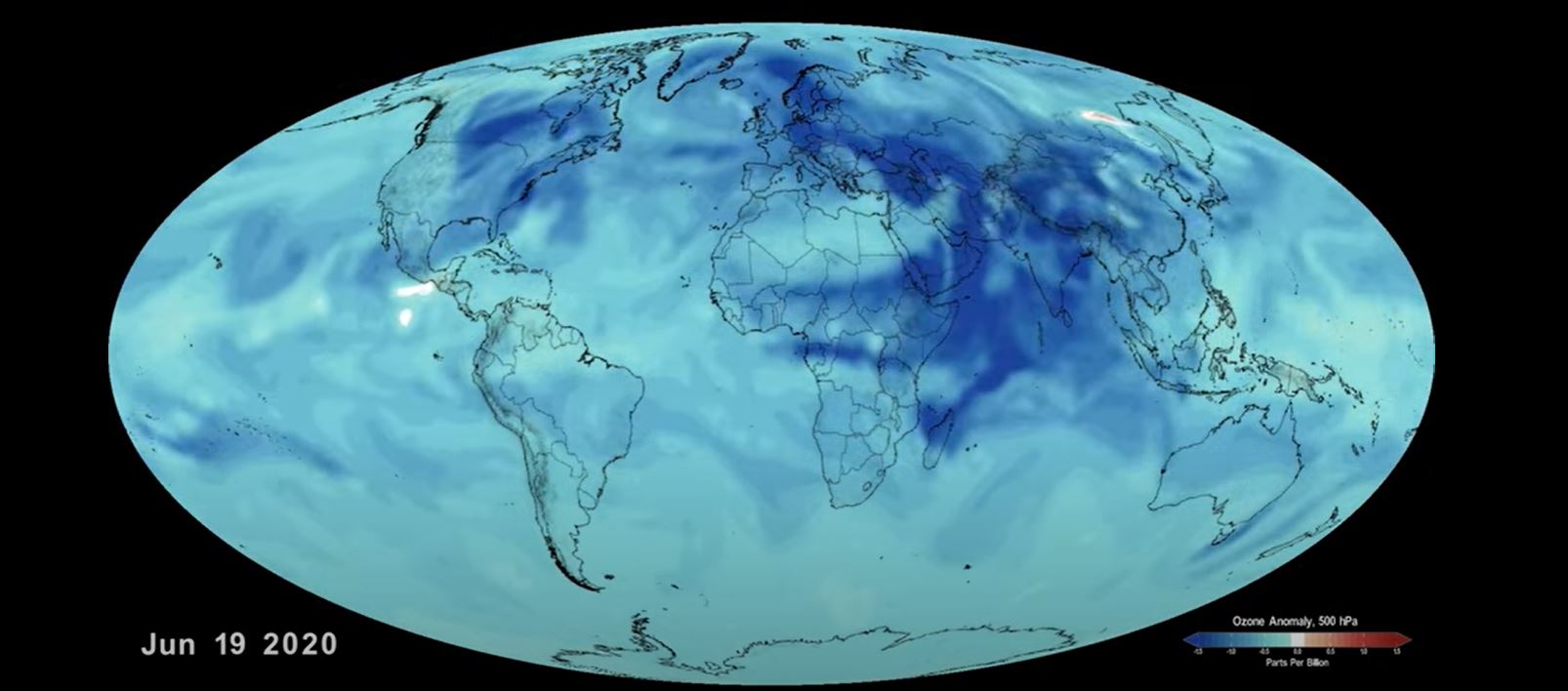 A still from a visualization showing the decrease of atmospheric ozone during the Covid-19 pandemic.