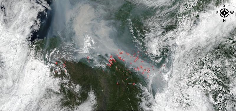 Fires in Siberia on 18 July 2021 (Suomi NPP/VIIRS)