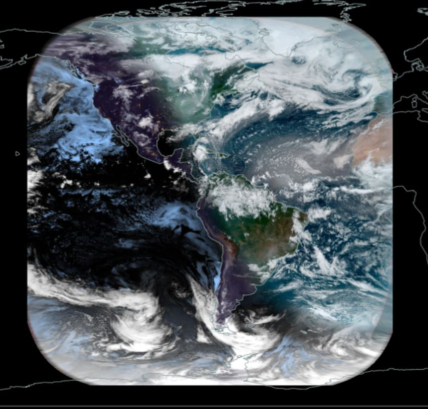 An image depicting how GOES GeoColor imagery appears in Worldview