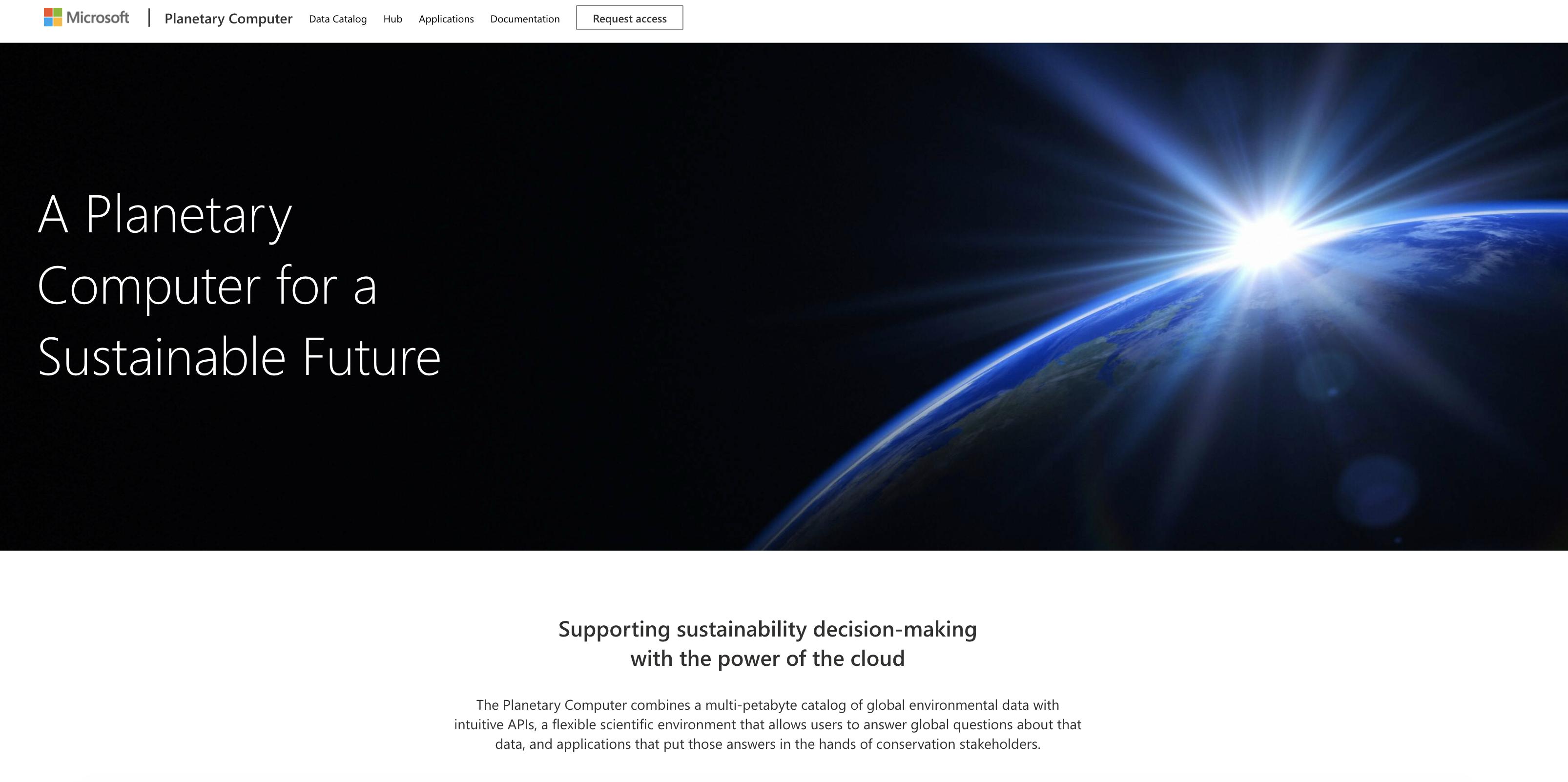 Screenshot of Microsoft Planetary Computer landing page