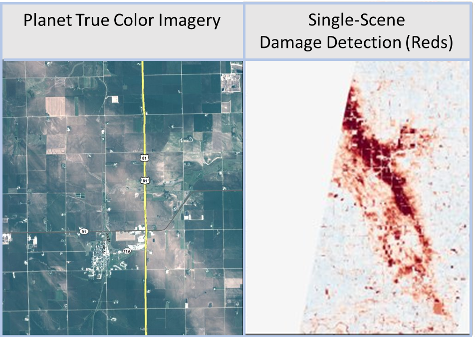 Split-screen example of Planet imagery showing damage from hail in a planted field on left with a statistical mapping of the damage using a computer program on right.
