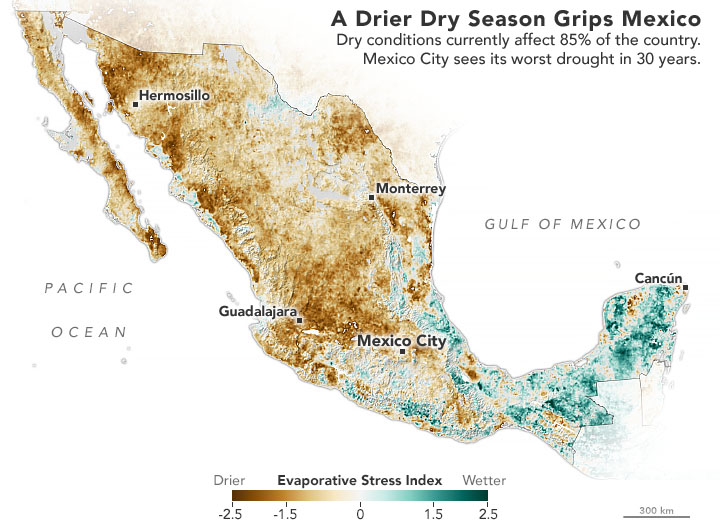 Nearly 85% of Mexico is facing drought conditions as of April 15, 2021. This image shows Evaporative Stress Index (ESI) data for the country, with brown colors indicating drier conditions. ESI incorporates leaf area index data from the Moderate Resolution Imaging Spectroradiometer (MODIS) instrument aboard NASA's Aqua and Terra satellites with observations of land surface temperatures from NOAA satellites and observations. The observations are used to estimate the amount of water evaporating from the land surface and from the leaves of plants. Image: NASA Earth Observatory; Landsat Image Gallery.