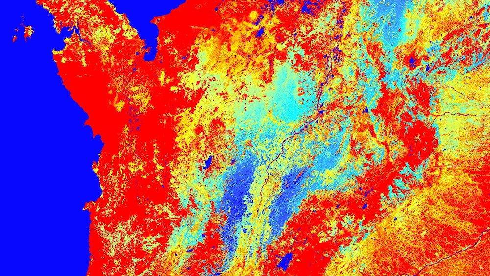 Terra MODIS gross primary productivity (GPP) data over central South America on August 29 - September 5, 2018.