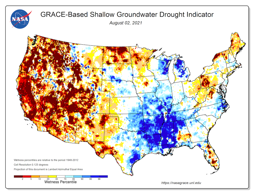 GRACE-based shallow groundwater drought indicator describing current wet or dry conditions over the continental U.S., for August 02, 2021. Credit: NASA GRACE, University of Nebraska - Lincoln