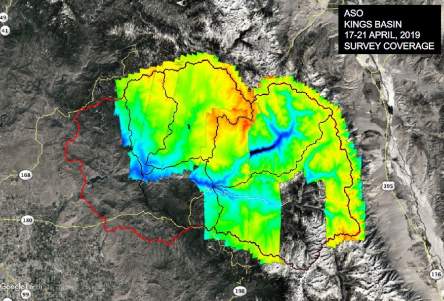 Map of Airborne Snow Observatory (ASO) lidar coverage of the Kings River basins during 17-21 April, 2019. Credit: NASA's Jet Propulsion Laboratory
