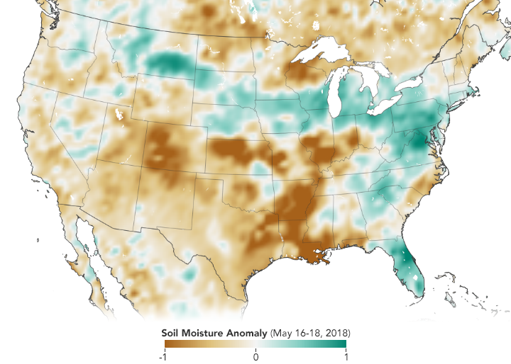 Map, based on Soil Moisture Active Passive (SMAP) data, shows soil moisture anomalies, how much the moisture content was above or below the norm, in the United States in mid-May 2018. Credit: NASA Earth Observatory