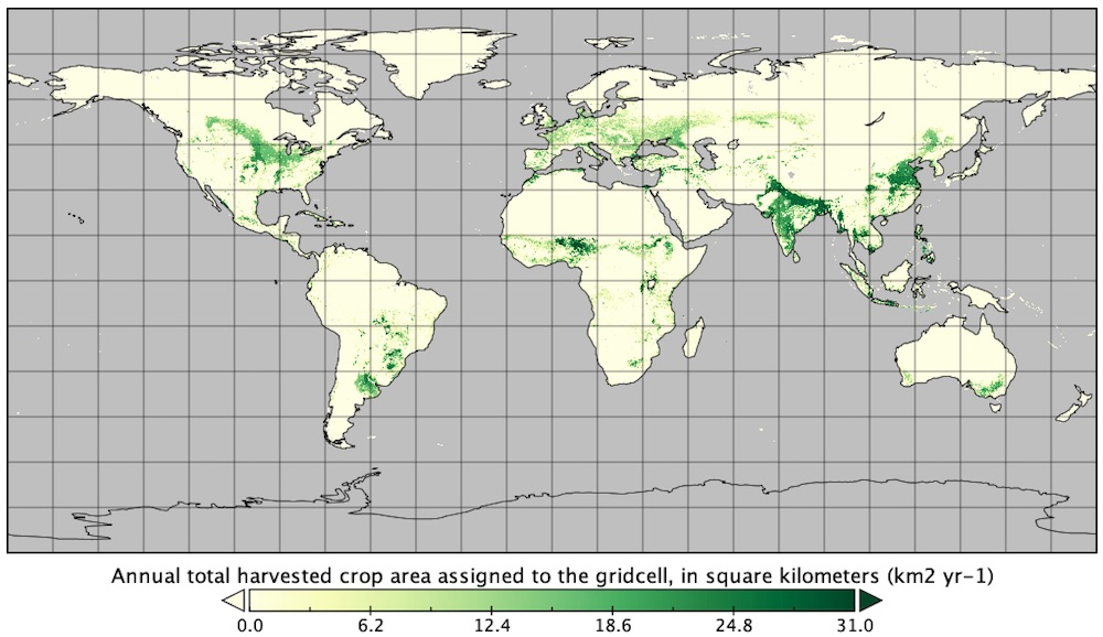 Annual total harvested crop area from the Carbon Fluxes from Global Agricultural Production and Consumption, 2005-2011 dataset, visualized in Panoply.