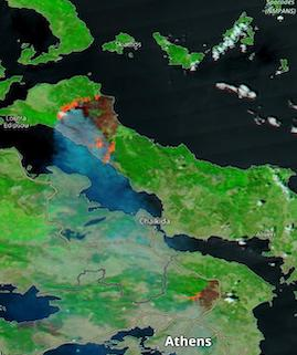 Fires in Greece on 7 August 2021 (Aqua/MODIS) - Feature Grid