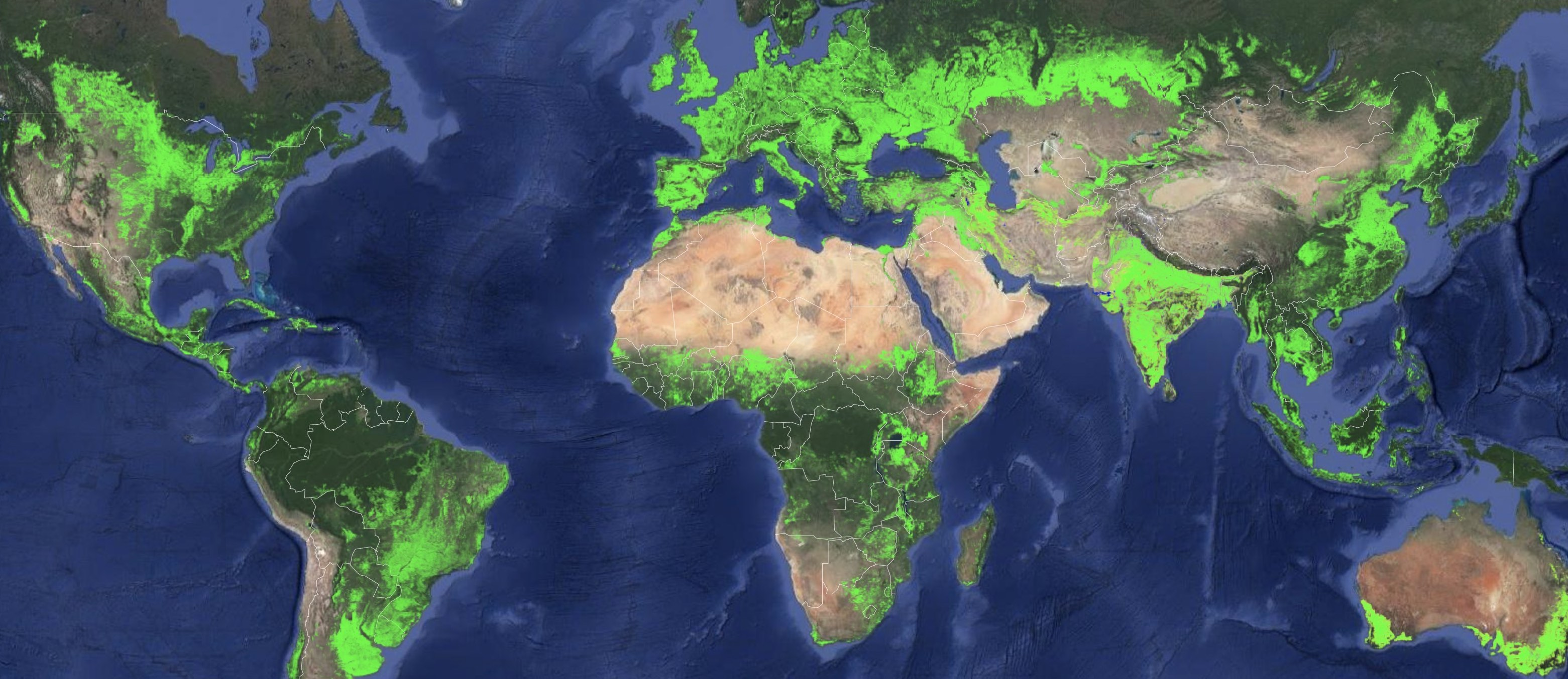 Global map shows where croplands are located, in light green.