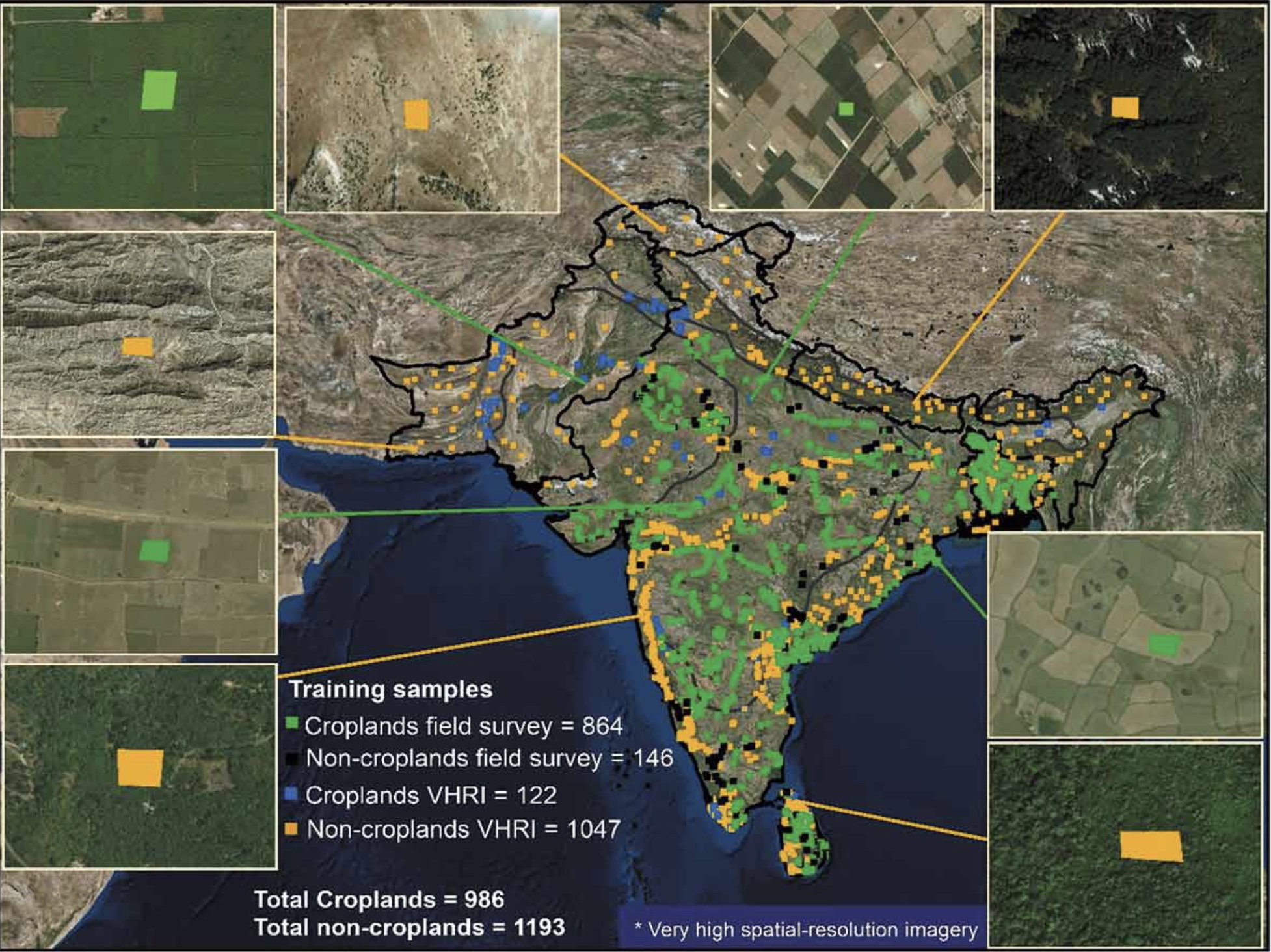 Image shows a map of India and some examples of the high-resolution images used to train machine learning algorithms to identify cropland areas.