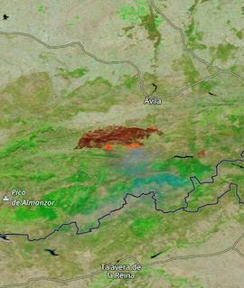 Fires near Avila, Spain on 16 August 2021 (Terra/MODIS) - Feature Grid
