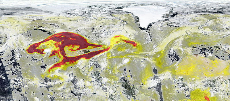 High Aerosol Index over USA on 13 September 2020 (Suomi NPP/OMPS)