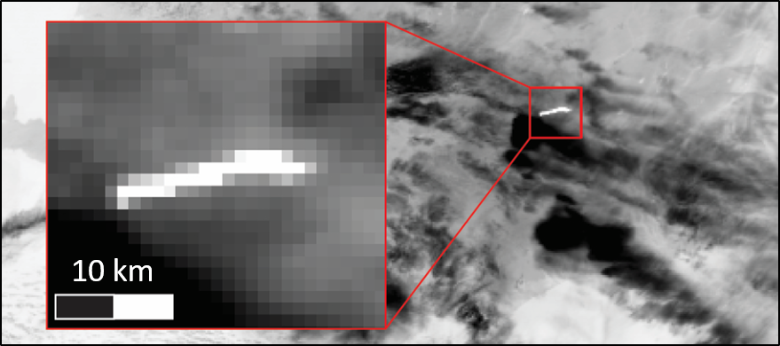 MODIS image of erupting volcano