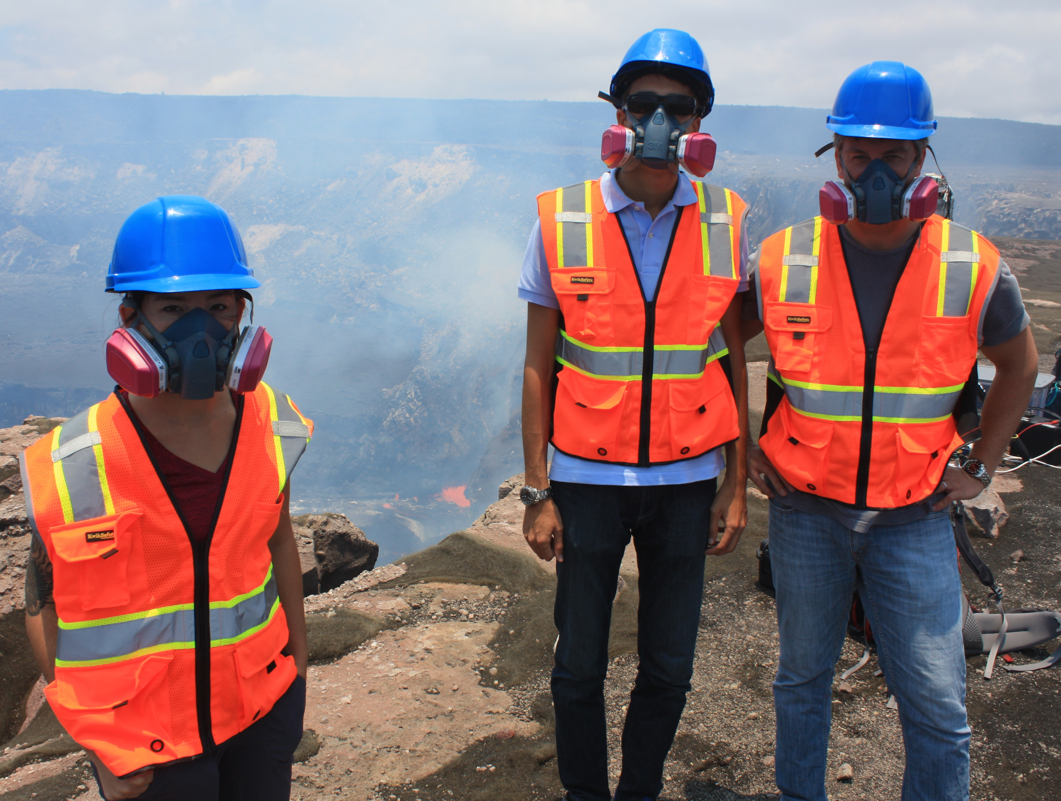 Dr. Wright and two colleagues near top of volcano in Hawaii
