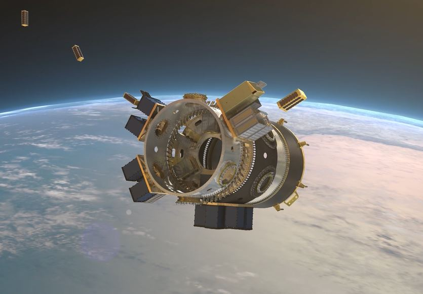 A still from an animation showing Cubesats getting release from rocket module