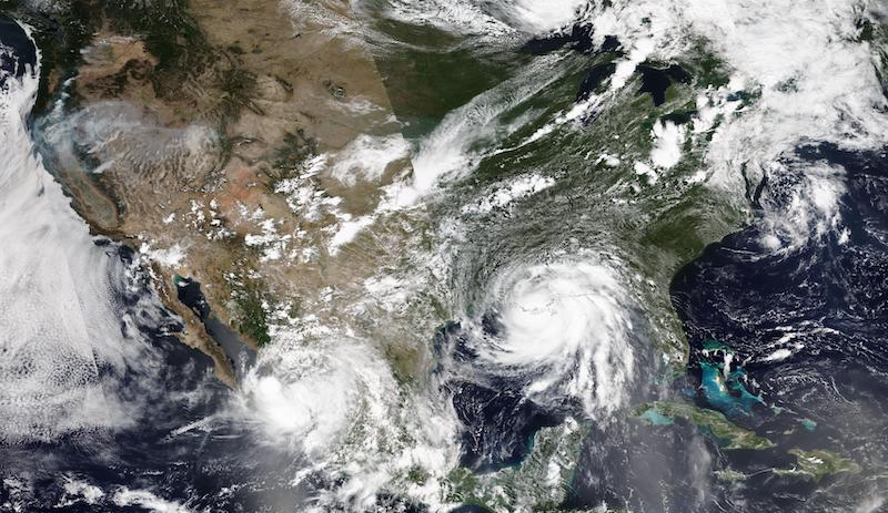 Tropical Storms Nora and Ida on 29 August 2021 (NOAA-20/VIIRS)