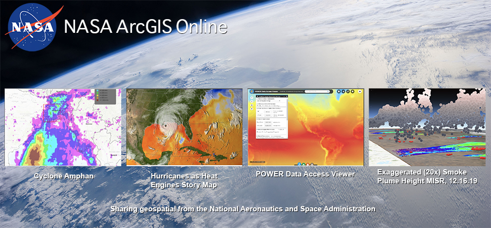 NASA ArcGIS Online data portal provides access to web maps and story maps focused on NASA data.