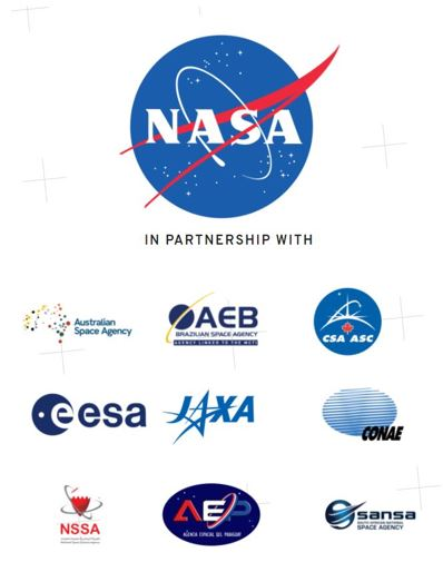A graphic showing the logos of the 9 international space organizations joining NASA for the 2021 Space Apps Challenge