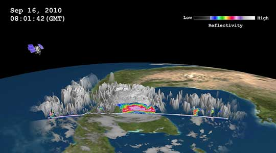 The NASA CloudSat satellite captured a slice of Hurricane Karl's clouds at 8:01 a.m. GMT (4:01 a.m. EDT) on September 17, 2010. CloudSat shows that the clouds are over eight miles high. The blue areas along the top of the clouds indicate cloud ice. The highest clouds in Karl at the time of the image were as cold as -40 to -60 degrees Celsius (-40 to -76 degrees Fahrenheit). (Courtesy NASA/JPL/Colorado State University/NRL)