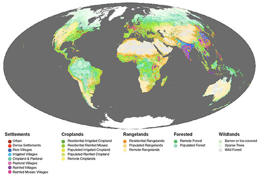 This map classifies the Earth's land area into categories of ecosystems created by humans based on population, land use, and vegetation. The lightest green and gray areas represent the world's remaining wildlands, mostly in boreal and tropical forests and cold, dry northern regions. Wildlands account for less than 23 percent of Earth's land surface. (Courtesy E. Ellis and N. Ramankutty/NASA Earth Observatory)