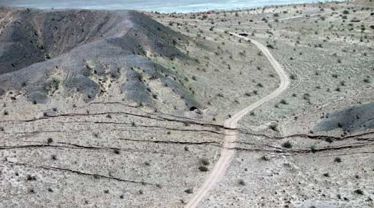 Aerial photograph of faultlnes exposed by the El Mayor-Cucapah earthquake in Baja California, Mexico.