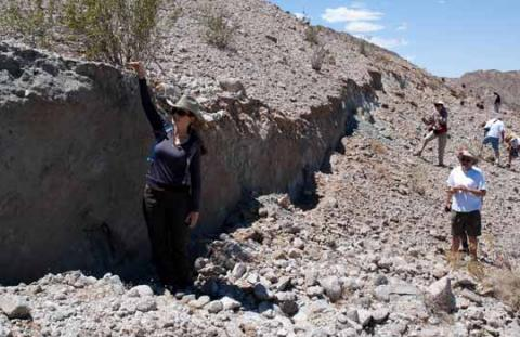Photograph of geologists measuring the surface rupture caused by the El Indiviso Fault after the El Mayor-Cucapah earthquake.