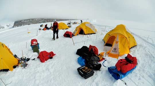 Photograph of a base camp on the Antarctic Ice Sheet