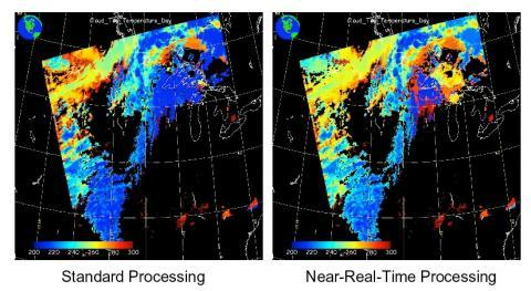 MODIS Standard Processing vs Near Real-Time Processing Cloud Top Temperature