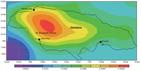 Data image showing rainfall patterns over Jamaica