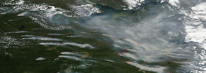 Fires and smoke in Northern Canada - feature grid