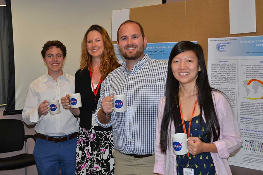 Figure 2: ASDC 2015 interns supporting ESDIS Project tasks (L to R):Harrison Termotto, Junior, Stony Brook University; Jeanette Harlow, Graduate Student, California State University, Long Beach; Aaron Scott, Graduate Student, University of North Dakota; Sophia Lin, Sophomore, University of Illinois at Urbana-Champaign. Image courtesy of Walt Bascom, NASA ASDC.
