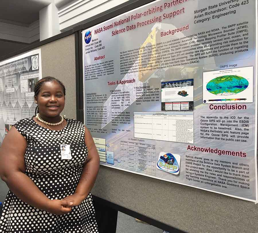 Figure 1: Avian Richardson with her S-NPP project poster. Image courtesy of Alfreda Hall, NASA ESDIS Project.