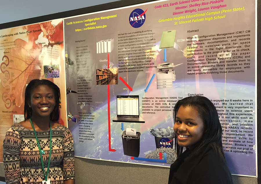 Figure 3: High school interns Lauren Vaughen (left) and Dionne Wright (right). Image courtesy of Alfreda Hall, NASA ESDIS Project.