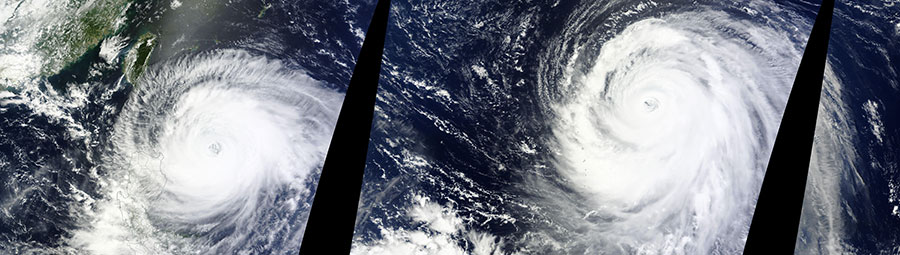 Two typhoons in the Western Pacific Ocean - feature grid